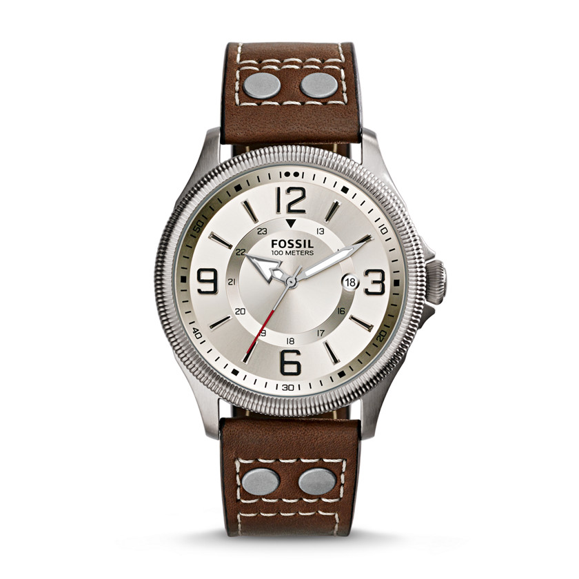 Fossil  Recruiter Three-Hand Date Leather Watch - Brown  22560116