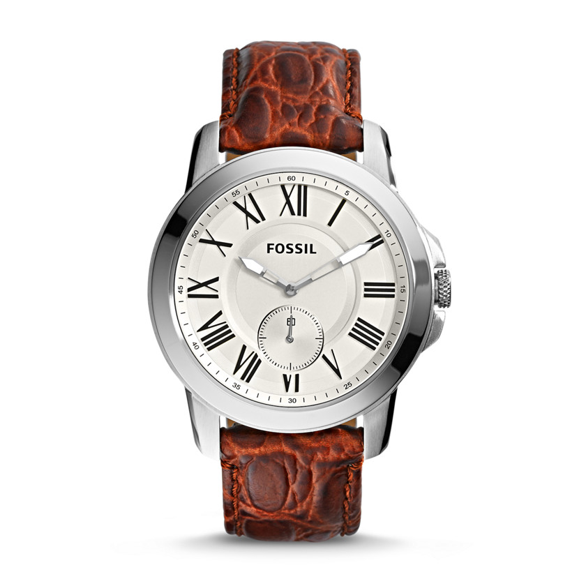 Fossil  Grant Slim Three-Hand Leather Watch - Brown Croco  22560140