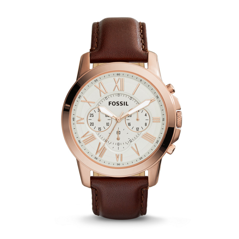 Fossil  Grant Chronograph Leather Watch - Brown  New  22575910