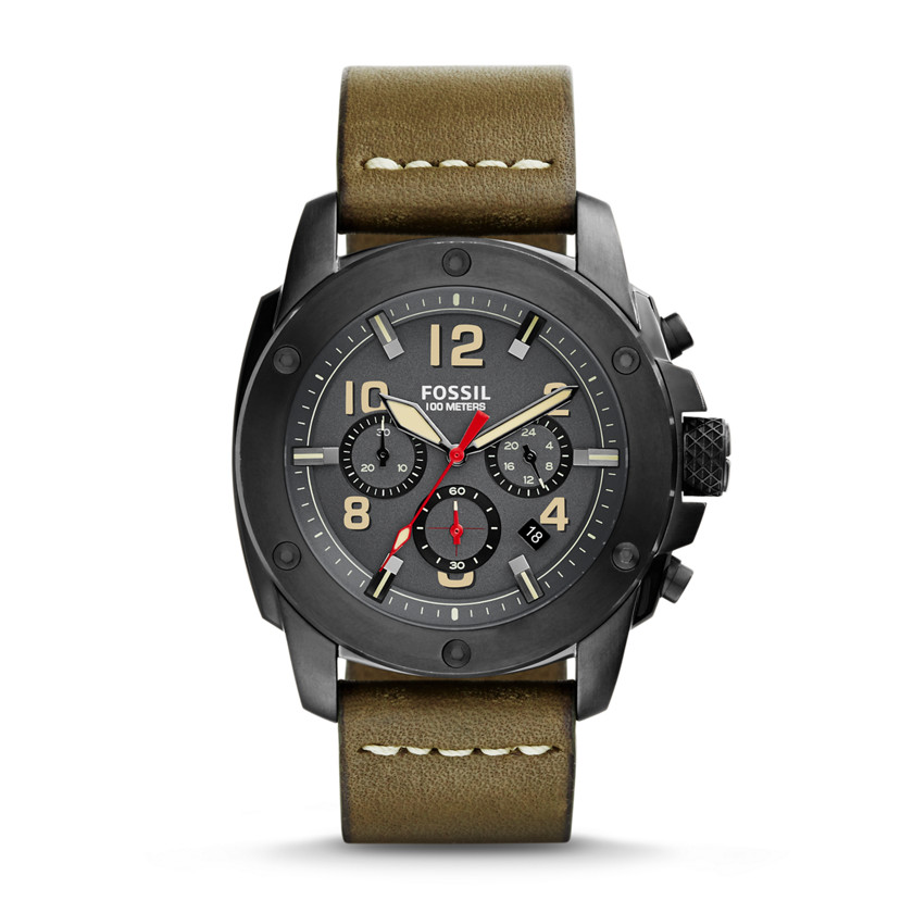 Fossil  Modern Machine Chronograph Leather Watch - Olive  22575918