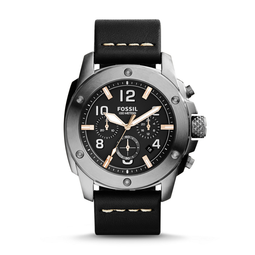 Fossil  Modern Machine Chronograph Leather Watch - Black  22575920