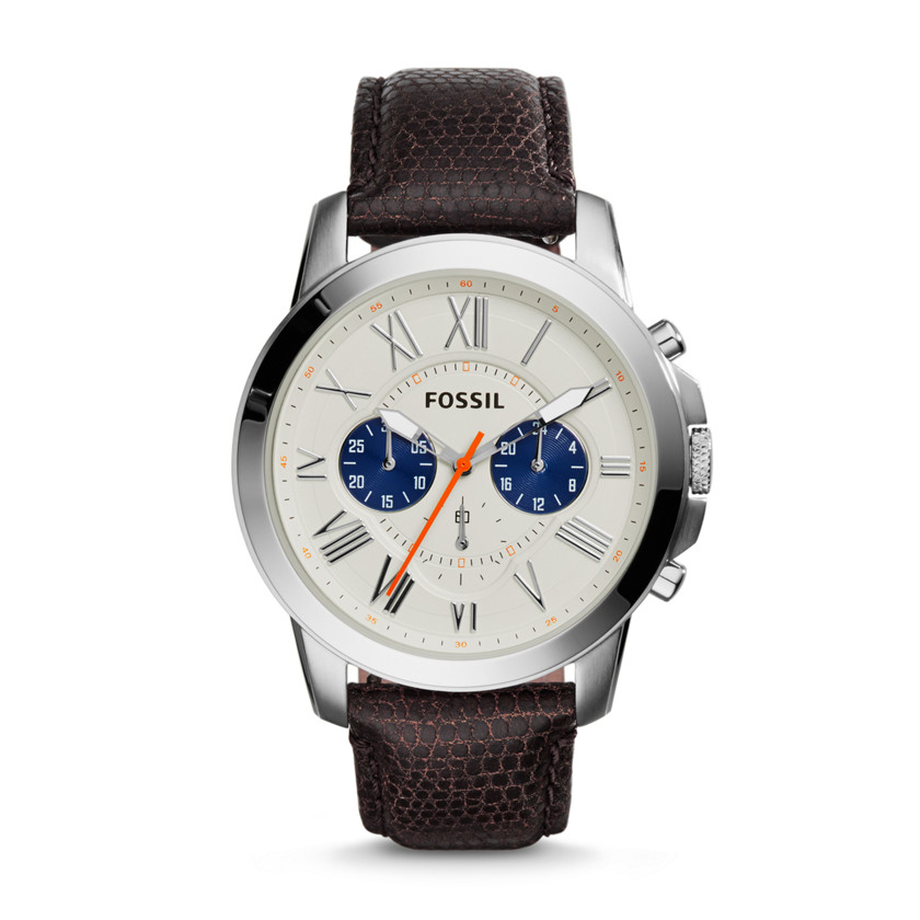 Fossil  Grant Chronograph Leather Watch - Brown  New  22576114