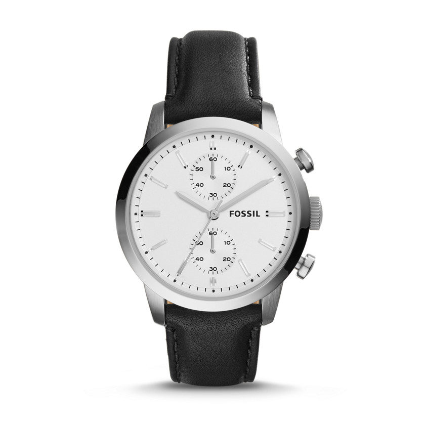 Fossil  Townsman Chronograph Leather Watch - Black  New  22576122