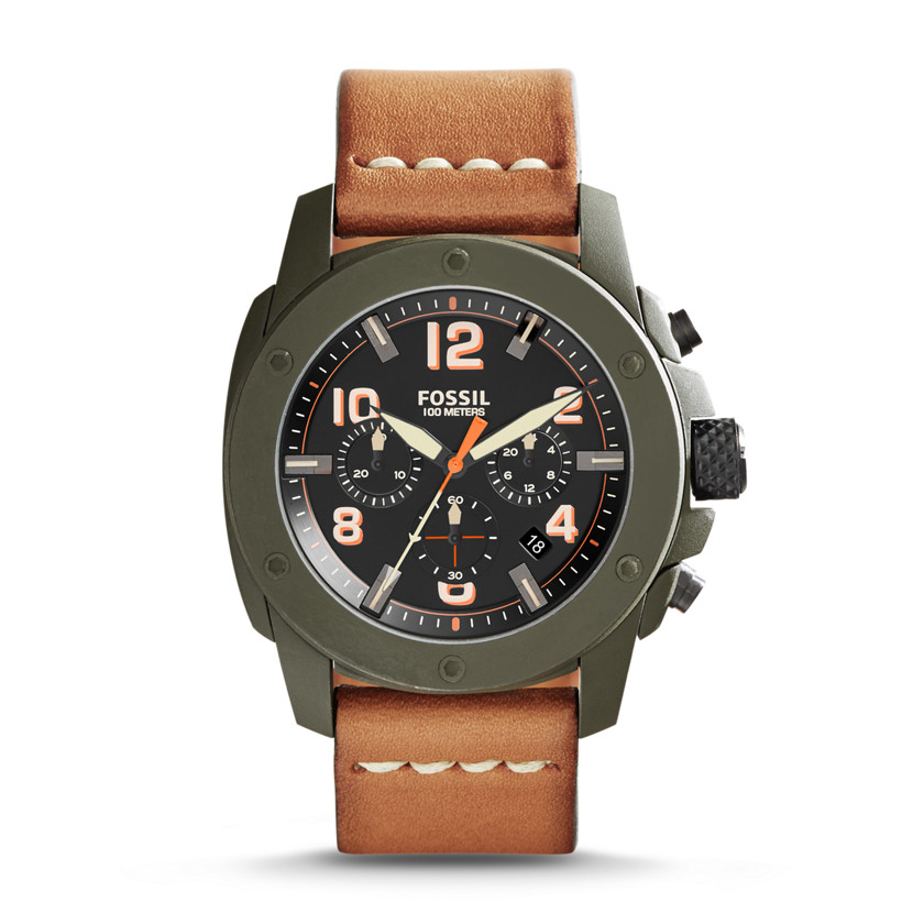 Fossil  Modern Machine Chronograph Leather Watch - Brown  New