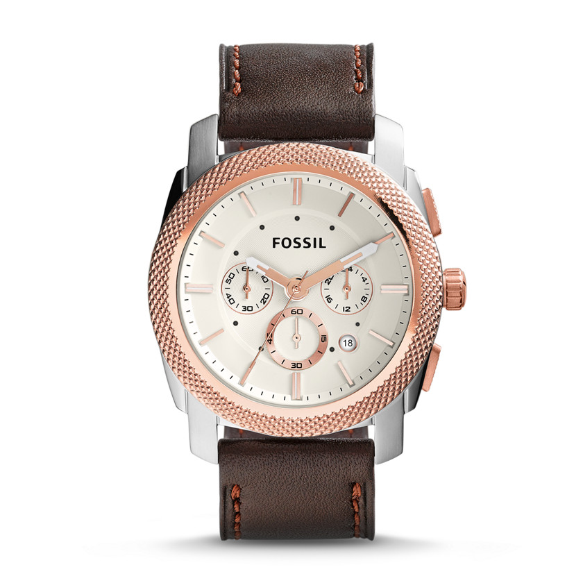 Fossil  Machine Chronograph Leather Watch - Brown  New  22576130