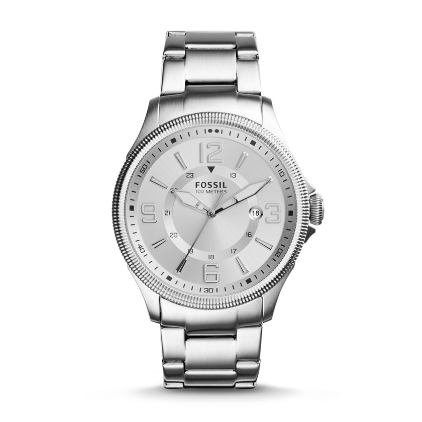 Fossil  Recruiter Three-Hand Date Stainless Steel Watch  New  22576140
