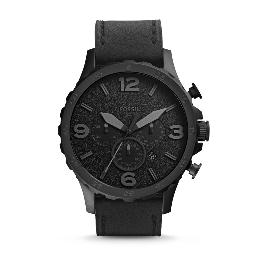 Fossil  Nate Chronograph Leather Watch - Black  22298423