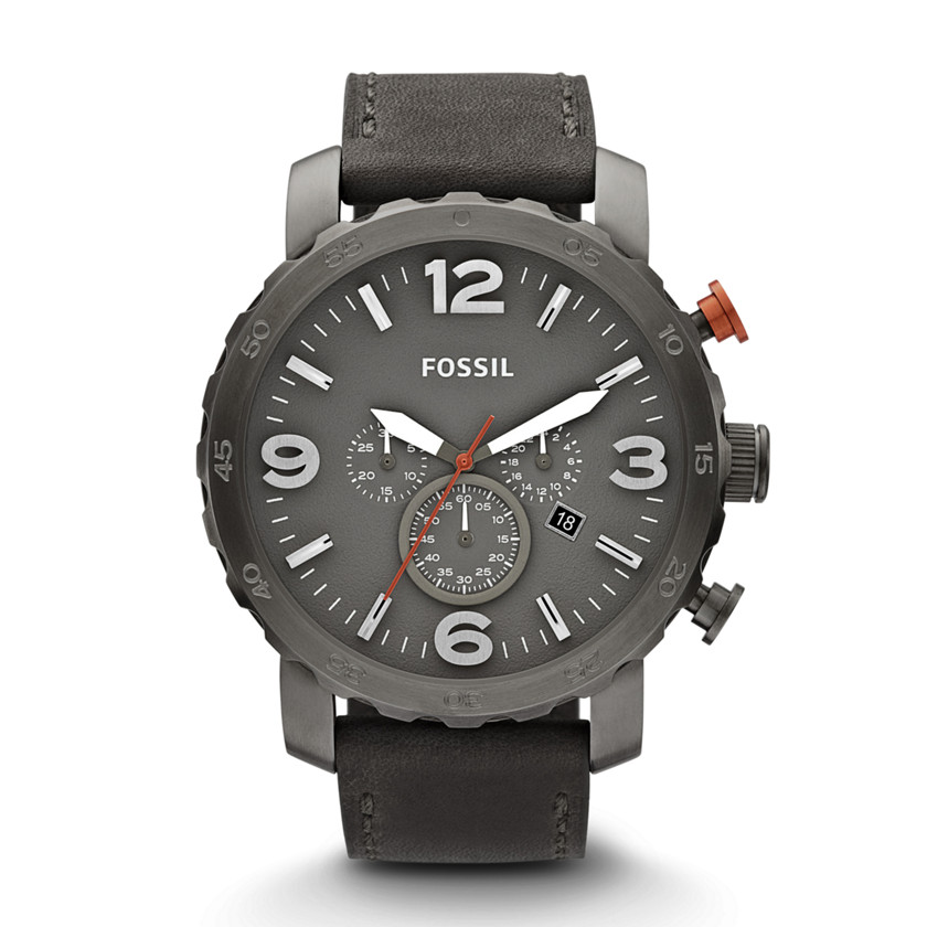 Fossil  Nate Chronograph Leather Watch - Grey  22368494