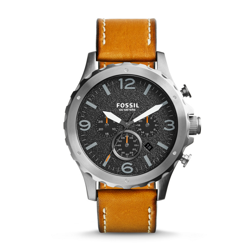 Fossil  Nate Chronograph Leather Watch - Tan  22560168