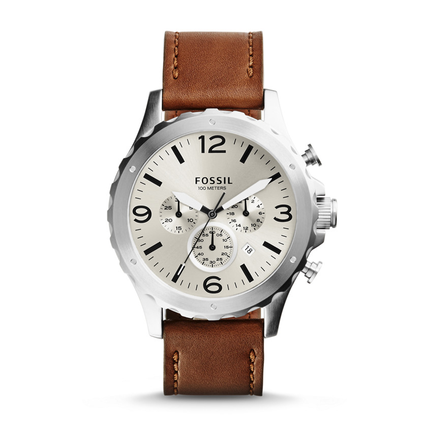 Fossil  Nate Chronograph Leather Watch - Brown  22560180