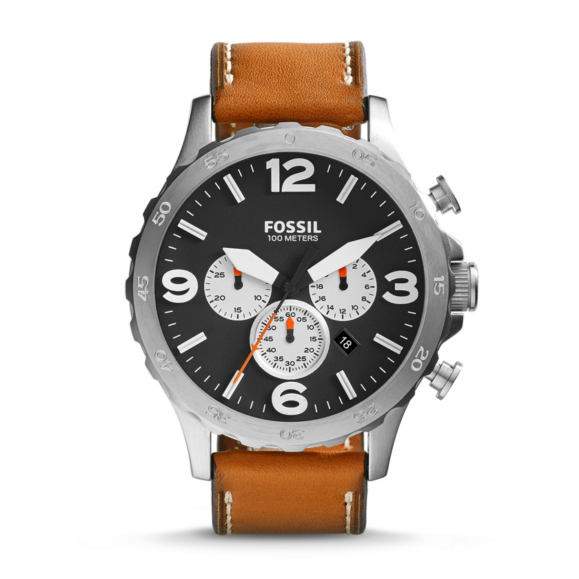 Fossil  Nate Chronograph Leather Watch - Tan  New  22576146