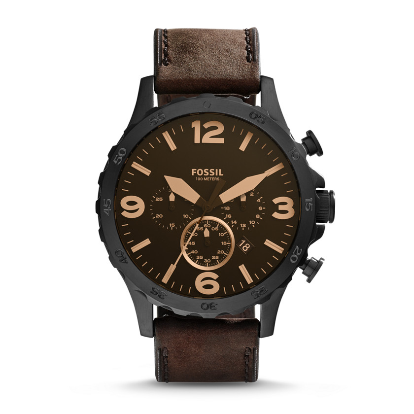 Fossil  Nate Chronograph Leather Watch - Brown  New  22576148
