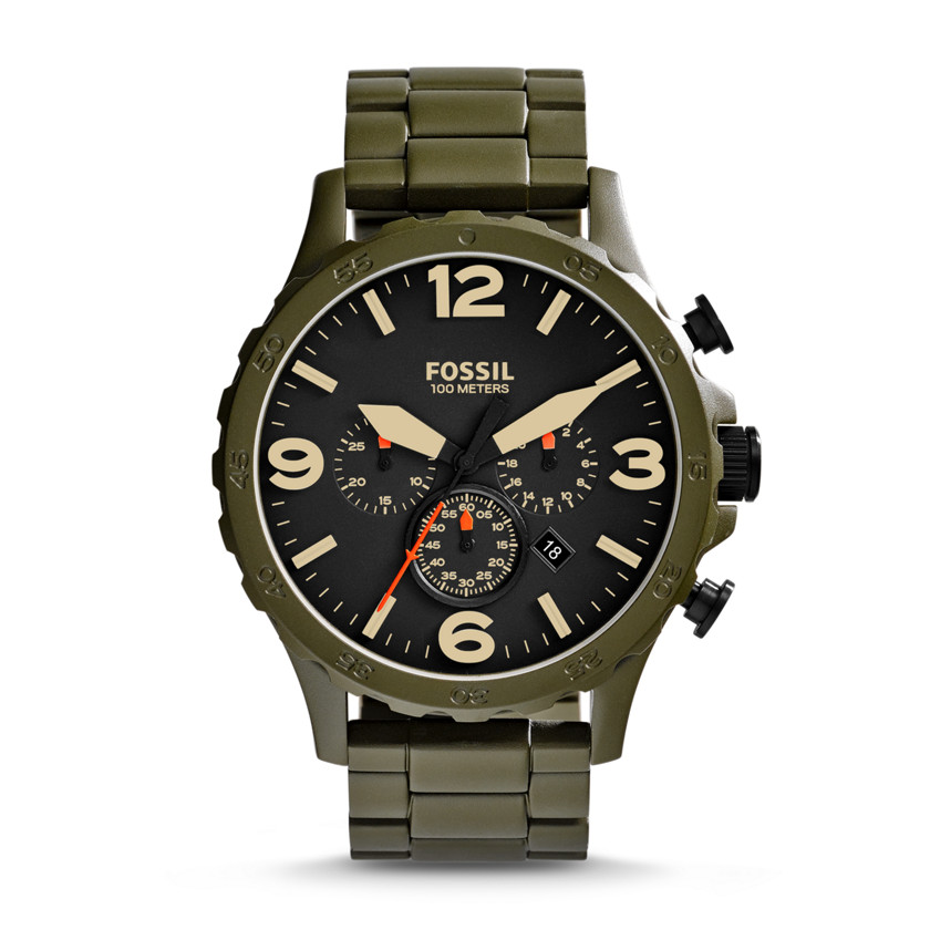 Fossil  Nate Chronograph Stainless Steel Watch - Olive  New  22576150