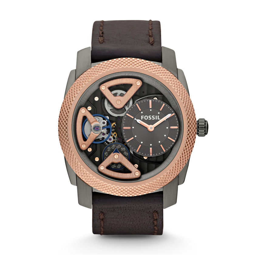 Fossil  Mechanical Twist Leather Watch - Brown  22281681