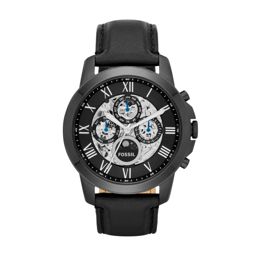 Fossil  Grant Automatic Leather Watch - Black  22444546