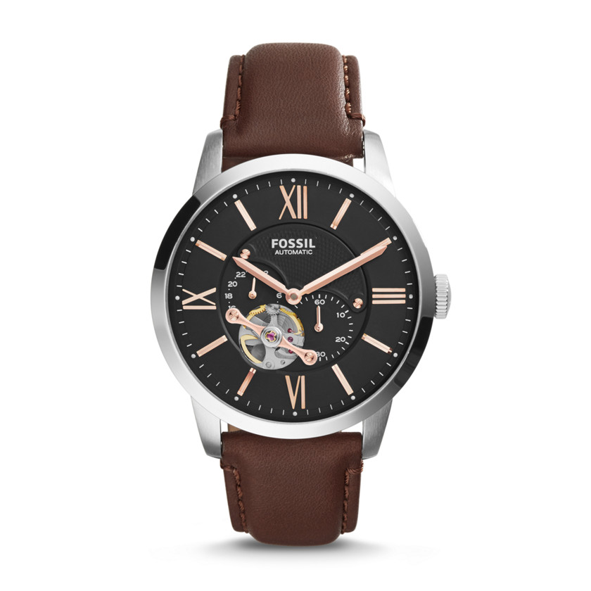 Fossil  Townsman Automatic Leather Watch - Brown  New  22576160