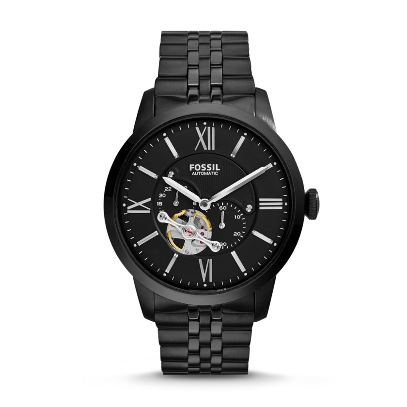 Fossil  Townsman Automatic Stainless Steel Watch - Black  New