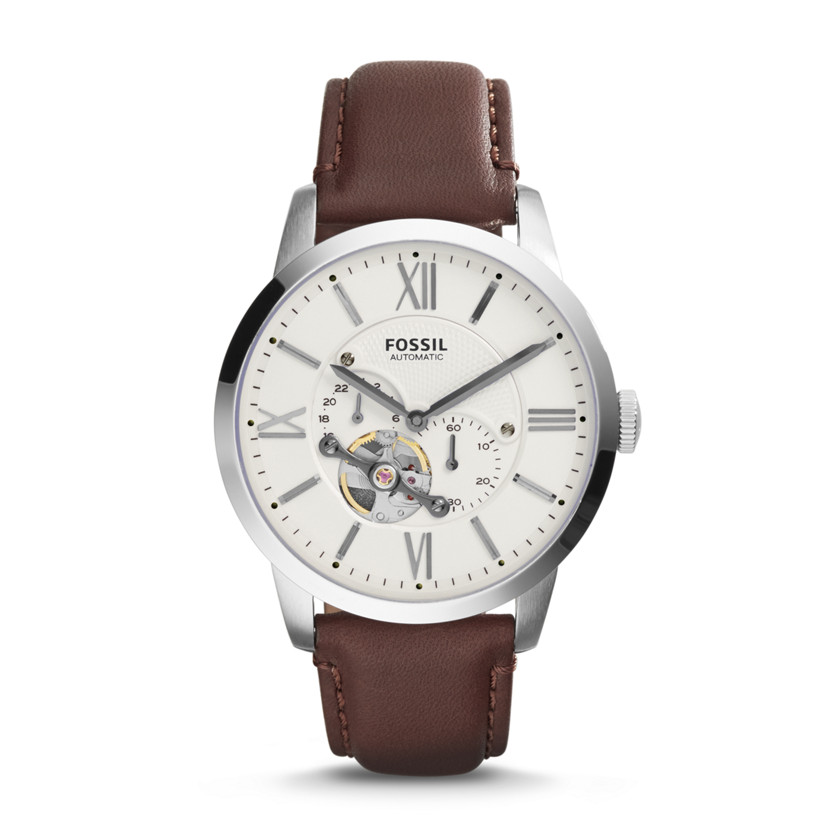 Fossil  Townsman Automatic Leather Watch - Brown  New  22576164