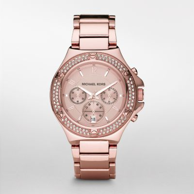 michael kors watch rocktop rose glitz chronograph watch