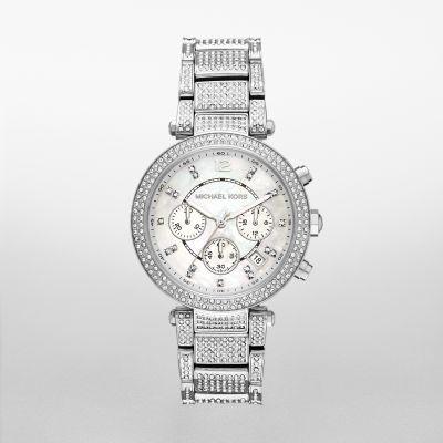 e5e43b7b5b23 Michael Kors Women s Parker Pav  Silver-Tone Watch