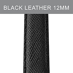 12 mm Jet Black Leather Strap