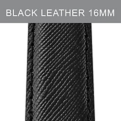 16 mm Jet Black Leather Strap