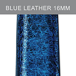 16mm Peacock Blue Leather Strap