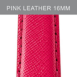16 mm Bright Pink Leather Strap