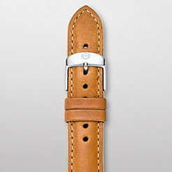 16 mm Khaki Leather Tan Trim Strap