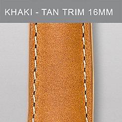 16 mm Khaki Leather Tan Trim Strap