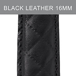16mm Black Quilted Calfskin Leather Strap