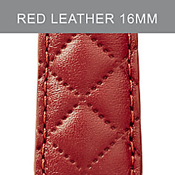 16mm Red Quilted Leather Strap