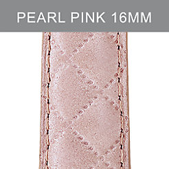 16mm Pearl Pink Quilted Leather Strap