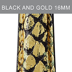 16mm Black And Gold Snakeskin Strap