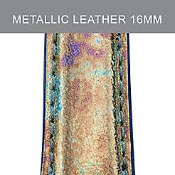 16mm Moonstone Metallic Leather Strap