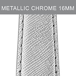 16mm Metallic Chrome Leather Strap