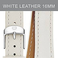 16mm White Leather Double Wrap Strap