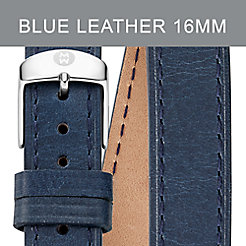 16mm Navy Leather Double Wrap Strap