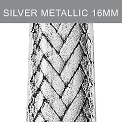16mm Silver Metallic Braided Leather