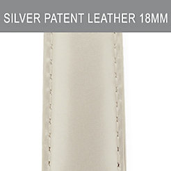 18mm Silver Patent Leather Strap