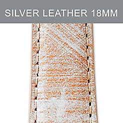 18mm Antique Silver Leather Strap
