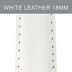 18 mm Bright White Leather Strap