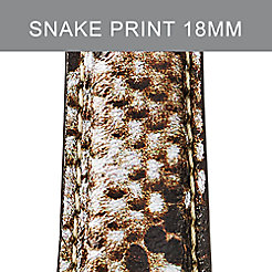 18mm Snake Print Leather Strap