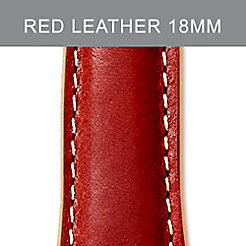 18 mm Red Leather Tan Trim Strap