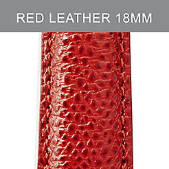 18mm Red Leather Strap