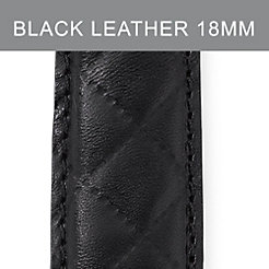 18mm Black Quilted Calfskin Leather Strap
