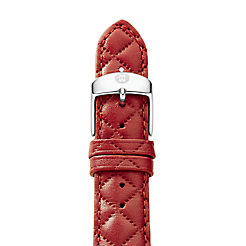 18mm Red Quilted Leather Strap