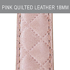 18mm Pearl Pink Quilted Leather Strap
