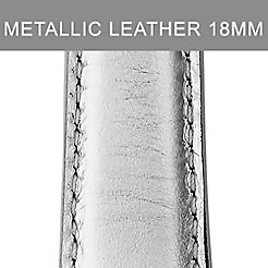 18mm Platinum Metallic Leather Strap