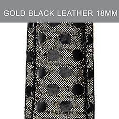 18mm Gold & Black Dot Leather Strap